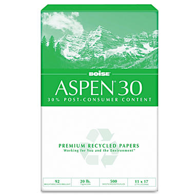 Boise - ASPEN 30% Recycled Office Paper, 92 Bright, 11 x 17, White - 2500 /Carton