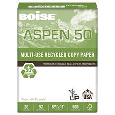 Boise - ASPEN 50% Recycled Office Paper, 92 Bright, 8-1/2 x 11, White - 5000/Carton