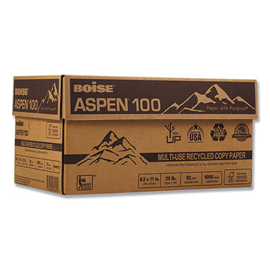 Boise - Aspen 100% Recycled Paper, 20lb, 92 Bright, 8-1/2 x 11
