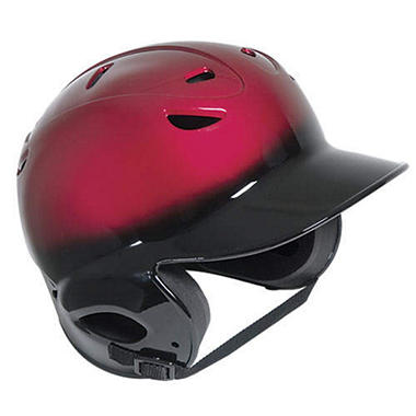 Two-Tone Vented OSFA Batting Helmet-Black/Scarlet