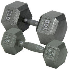 Hex Dumbbell with Ergonomic Handle - 45 lbs.
