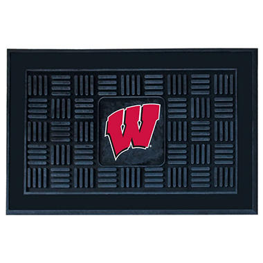 "NCAA University of Wisconsin Medallion Door Mat - 19"" x 30"""