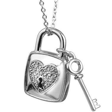 0.05 ct. t.w. Lock 'n' Key Diamond Accent Pendant in Sterling Silver (I, I1)