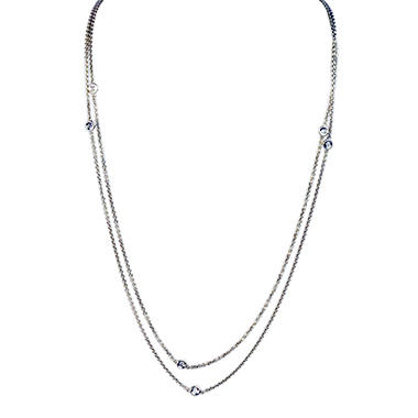 .20 ct. t.w. Diamond Necklace - Cables and Circles - 36
