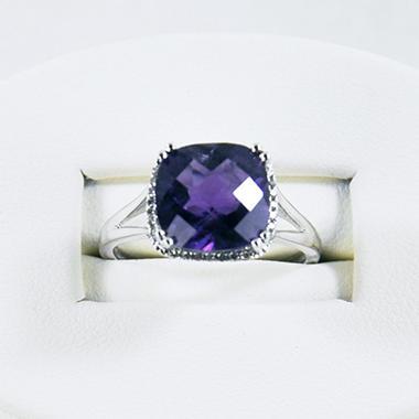 AMETHYST RING .07TW DIAMOND-14KW