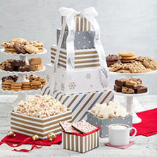 Mrs. Fields Holiday Silver and Gold 5-Tier Gift Tower