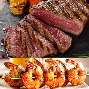 Angus Flat Iron Steak and Succulent Shrimp