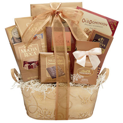 Alder Creek Sweet Holiday Decadence Gift Basket with Custom Printed Ribbon