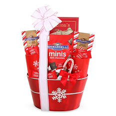 Ghirardelli Snowflake Holiday Gift Basket with Custom Printed Ribbon