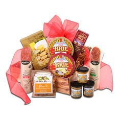 Gourmet Meat and Cheese Gift Basket with Custom Printed Ribbon