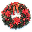 "Large 36"" Deluxe Poinsettia Holiday Wreath"