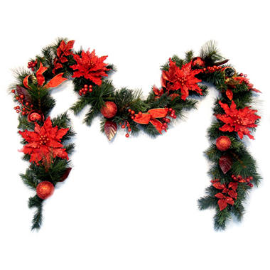 9' Poinsettia Holiday Garland