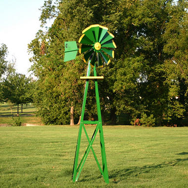 Outdoor Water Solutions Small Green & Yellow Powder Coated Backyard Windmill