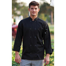 Chef Coat, Black (XL, Fits 48-50 Chest)