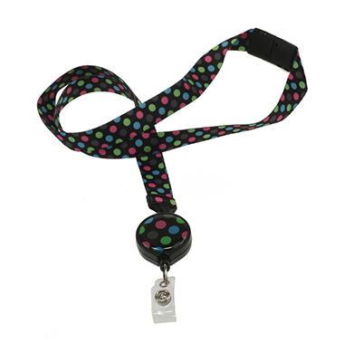 Rockin Dot Ribbon Lanyard with Badge Reel