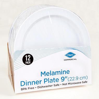 9 INCH DINNER PLATE MELAMINE, WHITE