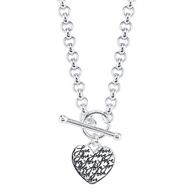 "Sterling Silver ""Love"" Script ""My Heart Belongs to You"" Necklace"