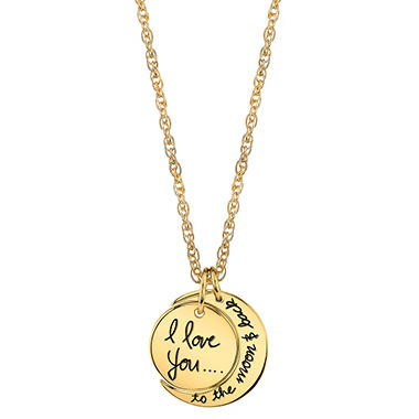 "14K ""I Love You To The Moon and Back"" Pendant"