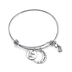 """I Love You To The Moon and Back"" Expandable Bracelet In Sterling Silver"