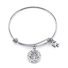 My Family My Love Bangle Bracelet -  Sterling Silver