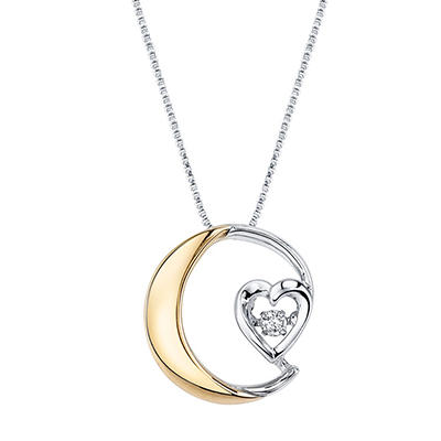 """I love you to the moon and back"" Necklace With Gold Plating in Sterling Silver"