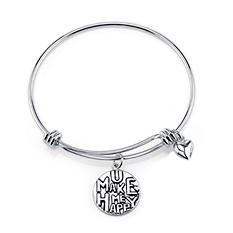 You Make Me Happy Heart Expandable Bangle Bracelet  - Sterling Silver