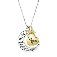 Mom I Love You to the Moon and Back Necklace - Gold/Silver