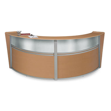 Double Reception Desk Plexi Front - Maple