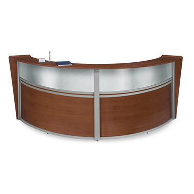 Double Reception Desk Plexi Front - Cherry