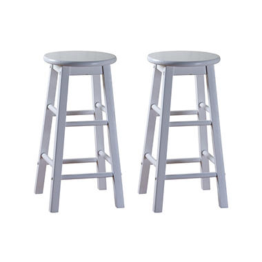 "Gilbert 24"" White Counter Stool - 2 pk."