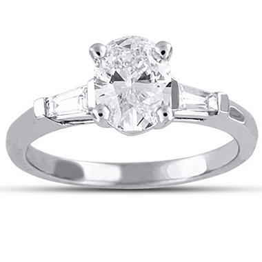 1.20 ct. t.w. Oval/Baguette Diamond Ring (E, SI2)