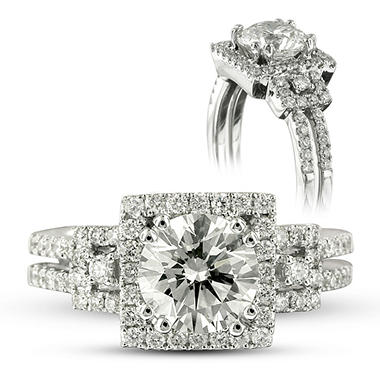 1.96 ct. t.w. Premier Diamond Collection Round and Pave' Diamond Ring in 18k White Gold (H, VS2)