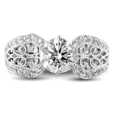 1.27 ct. t. w. Premier Diamond Collection Round and Pave' Diamond Ring in 18k White Gold (I, SI1)