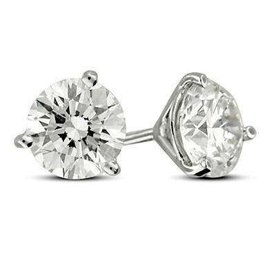 2.00 ct. t.w. Premier Diamond Collection 3-Prong Martini Round Diamond Earrings in 18k White Gold (F, SI1-SI2)