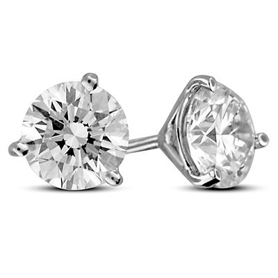 2.00 ct. t.w. Premier Diamond Collection 3-Prong Martini Round Diamond Earrings in 18k White Gold (H, SI1)