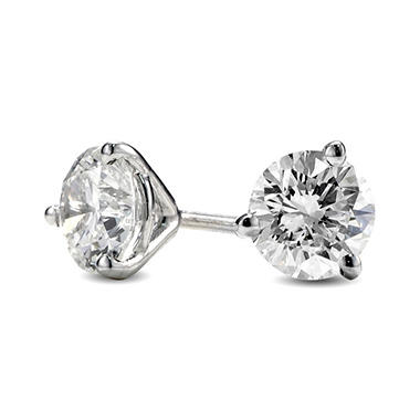 0.79 ct. t.w. Premier Diamond Collection 3-Prong Martini Round Diamond Earrings in 14k White Gold (G, I1)