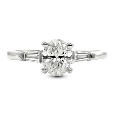 1.21 ct. t.w. Premier Diamond Collection Oval + 2 Baguettes Diamond Ring in 14k White Gold (E, SI2)