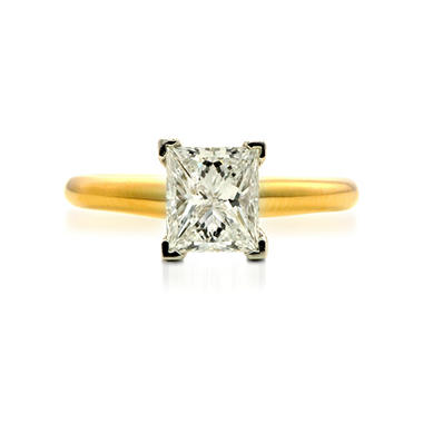 1.51 ct. Premier Diamond Collection Princess Diamond Solitaire Ring in 14k Yellow Gold & Platinum (G, SI2)