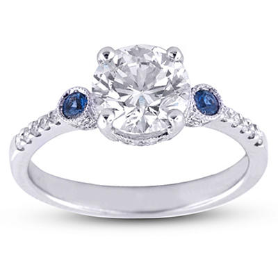 1.76 ct. t.w. Premier Diamond Collection Round, Saphire and Pave' Diamond Ring in 18k White Gold (H-I, VS2-SI1)