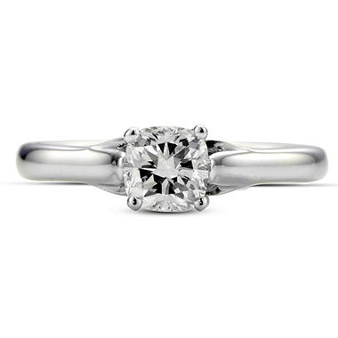 0.71 ct. Premier Diamond Collection Cushion Diamond Solitaire Ring in 14k White Gold (H, VS1)