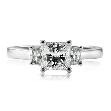 1.50 ct. t.w. Premier Diamond Collection Princess + 2 Trapezoids Diamond Ring in 18k White Gold (F, VS1)