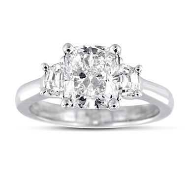 2.36 ct. t.w. Premier Diamond Collection Cushion + 2 Trapezoids  Diamond Ring in Platinum (I, SI1)