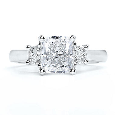 2.53 ct. t.w. Premier Diamond Collection Cushion + 2 Trapezoids  Diamond Ring in Platinum (I, SI1)