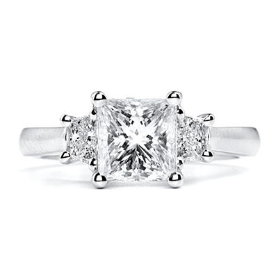 2.45 ct. t.w. Premier Diamond Collection Princess + 2 Trapezoids Diamond Ring in Platinum (I, SI2)