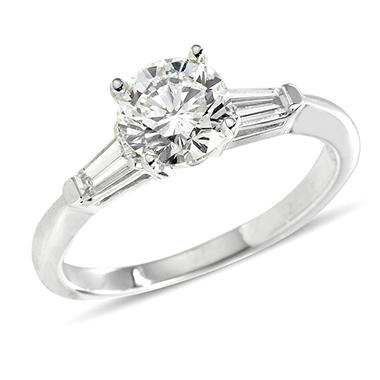 1.34 ct. t.w. Premier Diamond Collection Round + 2 Baguettes  Diamond Ring in 14k White Gold  (F-G, SI1-SI2)