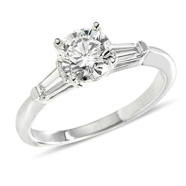 1.23 ct. t.w. Premier Diamond Collection Round + 2 Baguettes  Diamond Ring in 18k White Gold (H, SI1)