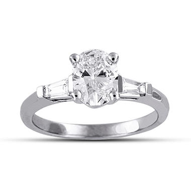 1.29 ct. t.w. Premier Diamond Collection Oval + 2 Baguettes Diamond Ring in 18k White Gold (D, SI1)