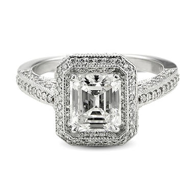 2.53 ct. t.w. Premier Diamond Collection Emerald and Pave' Diamond Ring in 18k White Gold (F, SI2)