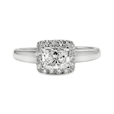 0.83 ct. t.w. Premier Diamond Collection Radiant and Pave' Diamond Ring in 14k White Gold (E, SI2)
