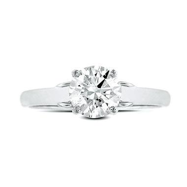 0.64 ct. t.w. Premier Diamond Collection Round Diamond Solitaire Ring + 2 Accent Diamonds in 14k White Gold (E, I1)